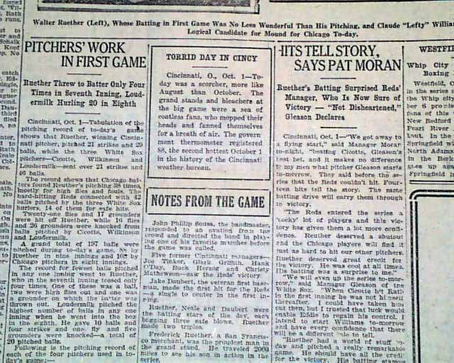 Go Back > Gallery For > 1919 World Series Newspaper Article