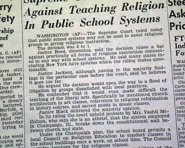 Supreme courts ruling banned school prayer in public schools