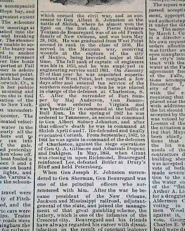 BEAUREGARD DEATH Confederate Civil War Hero General 1893 Old