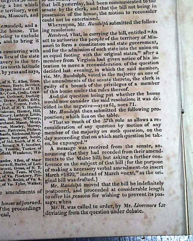 The Missouri Compromise... Missouri and Maine Statehood ...